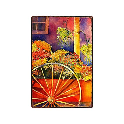 Guangzhouf Cartel de Chapa con Pintura de Hierro, Placa de pájaro y Flor de jardín, Letrero de Metal Floral, Arte de Pared Retro, decoración del hogar Retro, 20x30 cm DU8923