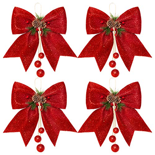 Whaline 4pcs Christmas Bow, Red Wreaths Bows, Christmas Tree Bow Glitter, Sequin Bow Ties, Xmas Decorative Bows for Home Ornament Decoration, Christmas Party, 9.8 x 11.8in