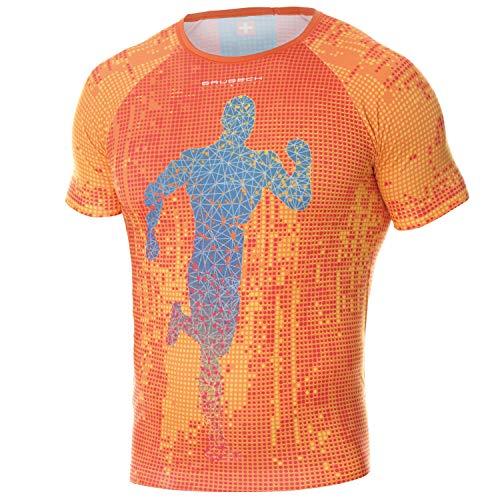 BRUBECK Running Shirt Herren | Laufshirt atmungsaktiv | Kurzarmshirt Laufen | Funktionsshirt nahtlos für Jogger | T-Shirt Training | Marathon | Sportshirt Joggen | Gr. M | orange | SS13260A
