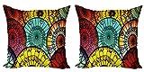 ABAKUHAUS asiático Set de 2 Fundas para Cojín, Paraguas Mercado, con Estampado en Ambos Lados con Cremallera, 60 cm x 60 cm, Multicolor