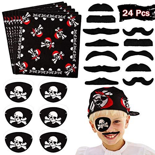 vamei 24 Stück Piraten Kindergeburtstag Piraten Party Piraten Zubehör Bandana Kopftuch Augenklappe Piraten Kostüm Kindergeburtstag Gastgeschenk für Party Karneval