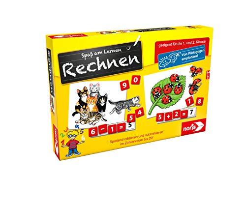 Noris 606076341 Spaß am Rechnen, Kinder Lernspiel zum Rechnen lernen, Zahlen, Bildlesekarten und Zahlensteine für Kindergarten, 1 und 2 Schulstufe, 1-4 Spieler, ab 5 Jahren
