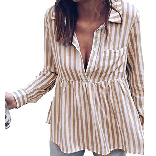 Morbuy Damen Sweatshirt, Casual Pullover Langarm T-Shirt Rundhals Ausschnitt Lose Bluse Oberteil Hemd Oversize Tops Sweatjacke Sport (XL, Khaki)