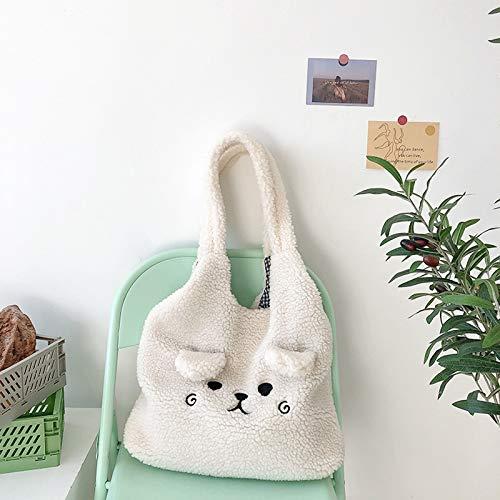 Bolso de lona de invierno suave de felpa para mujer con bordado de dibujos animados de imitación de pelo de cordero bolsa de hombro para mujer, bolsa de compras (color: blanco, tamaño: normal)