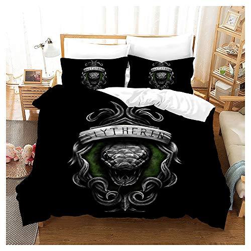 HOXMOMA Slytherin - Juego de ropa de cama 3D con diseño de Harry Potter, funda nórdica con fundas de almohada de Hogwarts Magic Academy para niños y adultos, color negro, UE 135 x 200 cm