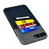 Dockem Funda para Tarjetas y Billetes para iPhone 8 Plus e iPhone 7 Plus - Piel sintética con Estilo de Tela de Lienzo, Profesional con 3 Ranuras para Tarjetas 1 Bolsillo para Billetes [Negra y Gris]