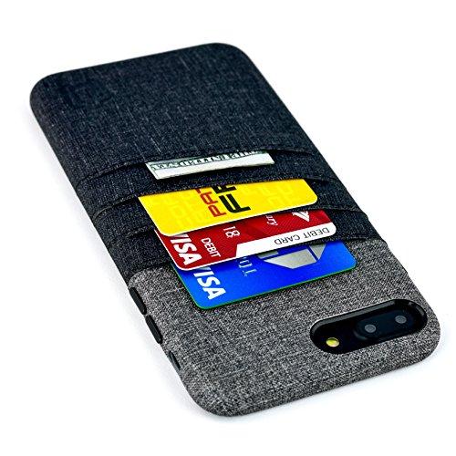 Dockem Cover per iPhone 7 Plus e 8 Plus con Tasche per Carte e Soldi: Cover e Portafoglio Minimali in Finta Pelle con Finitura Simil Tela, Look Professionale con 2 Tasche per Carte, Una per Soldi