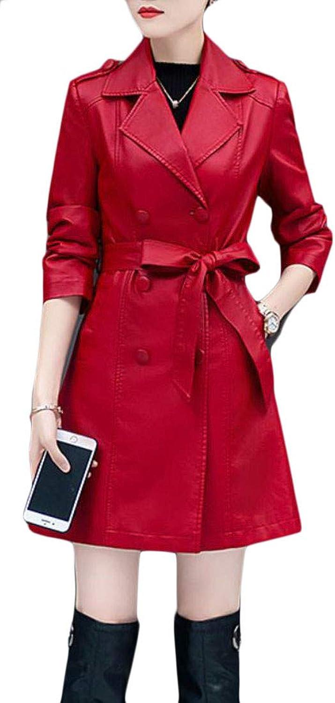 XiaoTianXinWomen XTX Women's Double Breasted Lapel Winter FauxLeather Fleece Long Jacket Coat