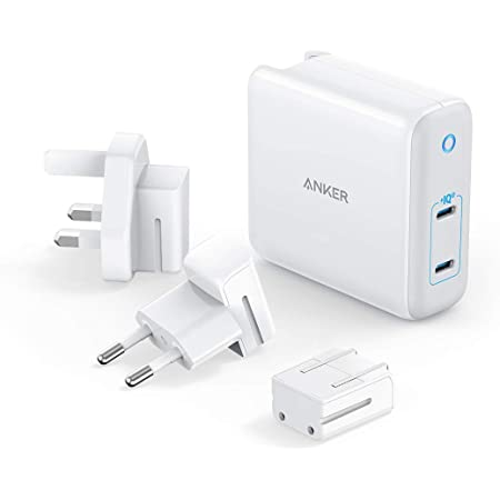 Anker PowerPort III 2-Port 60W (PD対応 60W 2ポート USB-C 急速充電器)【Intelligent Power Allocation/USB Power Delivery 対応/GaN (窒化ガリウム) 採用/海外用 電源プラグ付属/PowerIQ 3.0 】MacBook iPad iPhone Android 各種対応 (ホワイト)
