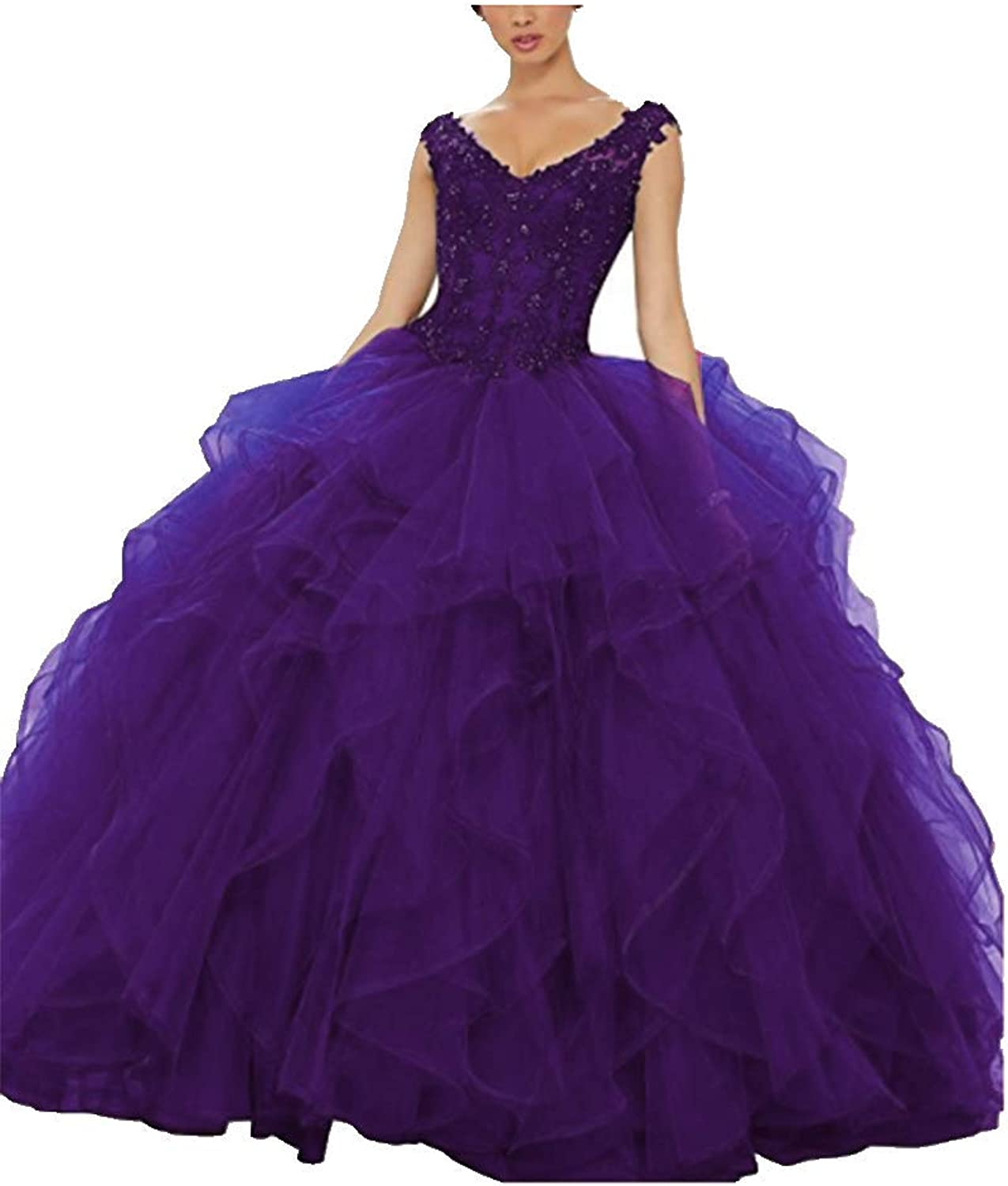 FWVR Women's 2019 Ball Gown Quinceanera Dresses Long Prom Party Dress Appliques
