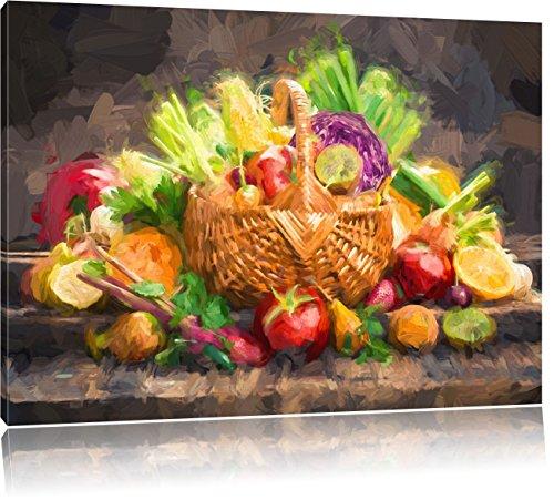 Pixxprint Obst und Gemüse im Korb ALS Leinwandbild/Größe: 100x70 cm/Wandbild/Kunstdruck/fertig bespannt