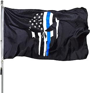 ROTERDON ThinBlueLinePunisher Flag - 3x5 Feet Skull Durable Military Memorial USA America Banner Flags
