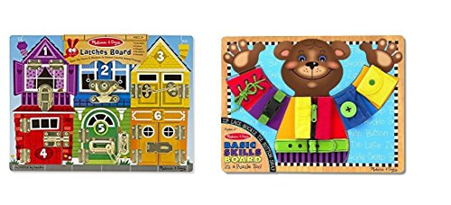 Melissa & Doug Latches Wooden Activity Board With Basic Skills Board