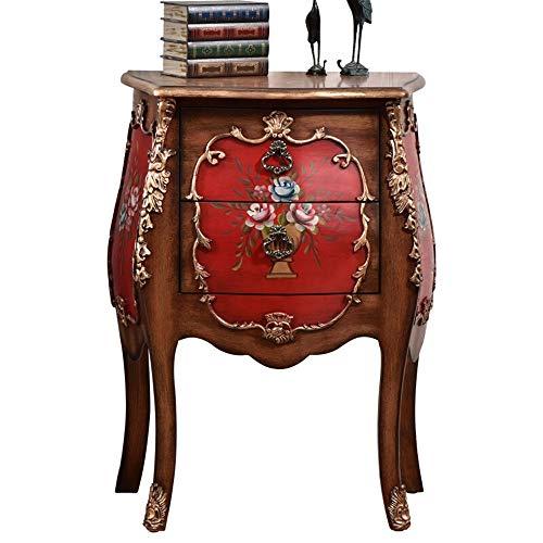 Buy BoeWan Multipurpose European Bedside Table Solid Wooden Side Lockers Side Cabinets Hand Painted ...