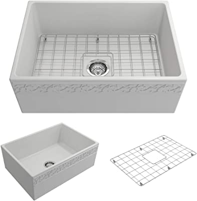BOCCHI 1357-002-0120 Vigneto Apron Front Fireclay 27 in. Single Bowl Kitchen Sink with Protective Bottom Grid and Strainer in Matte White