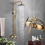 <span class='highlight'><span class='highlight'>Rozin</span></span> Antique Brass Bath Shower System Wall Mounted 8'' Rainfall Shower Head with Handheld Shower Sprayer Bathroom Mixer Single Handle Shower Tap