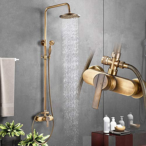 Rozin, Soffione doccia in ottone anticato con doccetta a pioggia