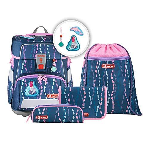"""Step by Step Schulranzen-Set Space """"Mermaid"""" 5-teilig, lila-rosa, Unterwasser-Design, ergonomischer Tornister mit Reflektoren, höhenverstellbar mit Hüftgurt für Mädchen 1. Klasse, 20L"""