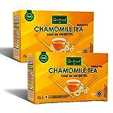 Qualuca Té de Manzanilla | (100 tazas) | Té con flores de manzanilla natural en cada bolsita de té | 100% natural | Delicioso | 100 bolsitas de té | 100 gramos