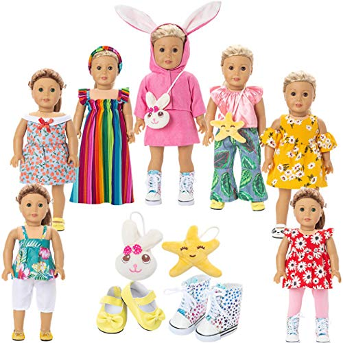 WYHTOYS 18 Inch Doll Clothes, American Doll Clothes and Accessories Gift for Girl - Including 7 Set Toys Doll Clothing Outfits, 2 Pairs Shoes, 2 Pcs Doll Backpack Bags