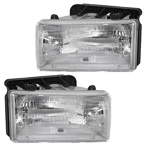 Halogen Headlights Headlamps Pair Set Replacement for 91-96 Dodge Dakota