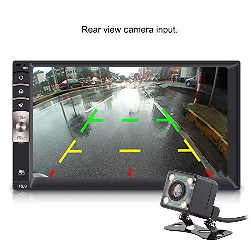 Reproductor de radio para automóvil 7 pulgadas Universal 2 Din Bluetooth USB/TF FM Aux Doble Din Estéreo Entrada de pantalla táctil Radio para automóvil Reproductor MP5 con cámara de visión trasera