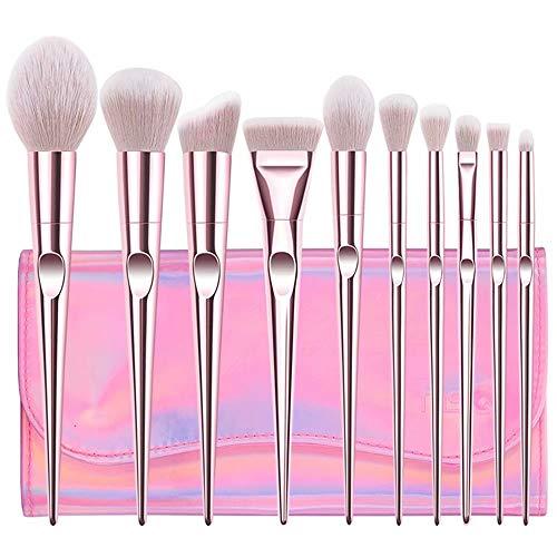 Pinceaux de Maquillage, pinceaux de Maquillage Cosmétiques Professional Essential Kits de pinceaux de Maquillage de 10 pièces avec Pochette de Voyage