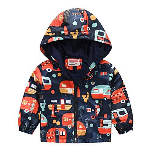 Franterd Toddler Boys Girls Jacket Hooded Trench Lightweight Kids Coats Windbreaker Outdoor Cute Dust Coats 1T-5T