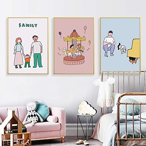 KELEQI Arte de Pared Sweet Family Posters Decoración de guardería Conmemorar Lienzo Pintura Imágenes Impresiones para habitación de niños Decoración del hogar (75x100cm) X3 Sin Marco
