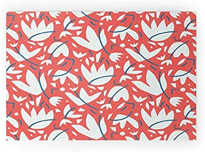 """Society6 70077-wcmatl Studio Maluda Cut Out Floral Welcome Mat, 36"""" x 24"""", Red"""