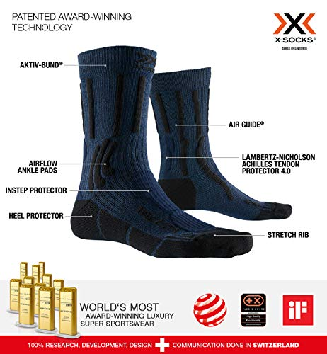 X-Socks Trek X Cotton Socks Calcetines De Senderismo Trekking Hombre Mujer Socks Calcetines, Unisex adulto, Midnight Blue Melange / Opal Black, 39/41