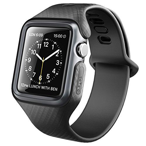 Clayco Cinturino Compatibile con Apple Watch 3, 42 mm, serie Hera, custodia protettiva ultra sottile con cinturino da polso per Apple Watch 42 mm serie 3/serie 2/serie 1 (nero)