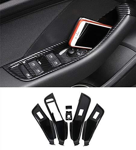 HDCF Alzacristalli in vetro per auto Alzacristalli per cornici porta telaio 6 pezzi per A3 8V 2014-2018 LHD ABS in fibra di carbonio