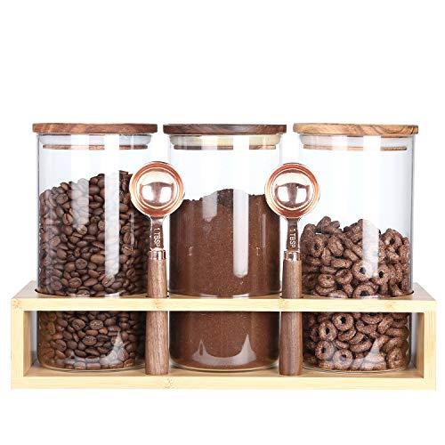 KKC Kaffeebehälter Glas Luftdicht - Kaffeedose Glas - Kaffeebohnen Behälter - Glasbehälter mit Holzdeckel und löffel für Lebensmittel,Nudeln,Reis,Müsli,Haferflocken-Glasdoen 1150ML,3er Set