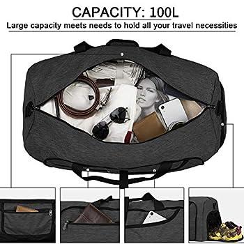 NEWHEY Sac de Voyage Pliable Homme Résistant à l'eau Grand Léger Sac de Sport Camping Randonnée Pliant 100L Noir