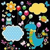 EdCott 6x6ft Glücklich Dinosaurier Cartoon Muster Hintergrund Nette Dino Luftballons Vögel Kinder...