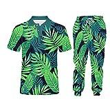 Pantalones de Sudaderas con Capucha Casuales de Tize Men's Plus Set de 2 Piezas Set Verde Hojas 3D Loggers Joggers Set PLPA06490 L