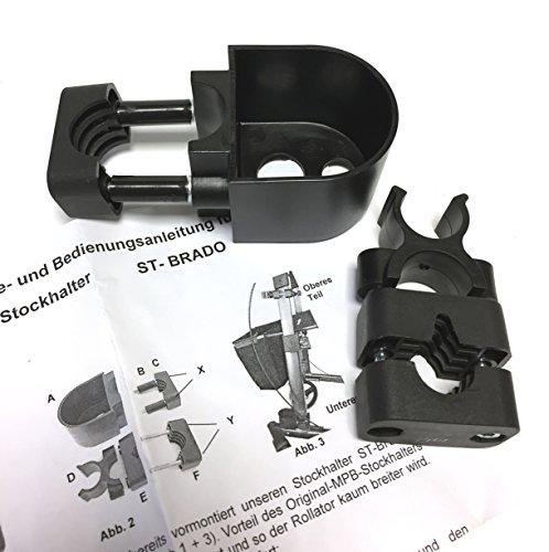 MPB® Stockhalter komplett für Bechle Brado Rollatoren, Klemme und Becher, bruchfester Kunststoff, hochwertig verarbeitet, leichte Montage, Made in Germany!