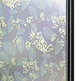 Qualsen Privacy Window Film Opaque Non-Adhesive Frosted Window Film Decorative Stained Glass Film Static Cling Plant Window Stickers for Bathroom Home Office 35.4x78.7inch(90x200cm)