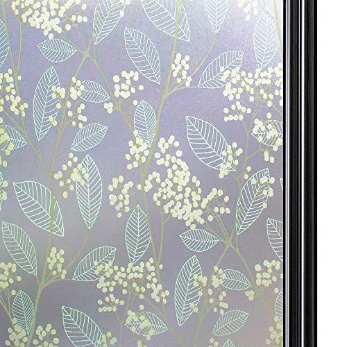 Qualsen sichtschutzfolie Fenster fensterfolie selbsthaftend Blickdicht milchglasfolie selbstklebend Fenster Selbstklebende fensterfolie (90 x 300 cm)