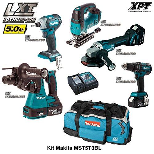 MAKITA Kit MST5T3BL 18V (DHR242 + DTD148 + DGA504 + DHP480 + DJV182 + 3 x 5,0 Ah + DC18RC + Trolley)