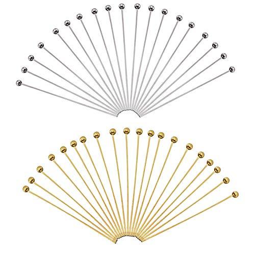 TOAOB 200 Pezzi Chiodini Testa con Palla Perline 50x0.6 mm Ottone Spilli Dritti Pin per Fai da Te Collane Orecchini Bracciali Creazione di Gioielli Oro e Argento Tone