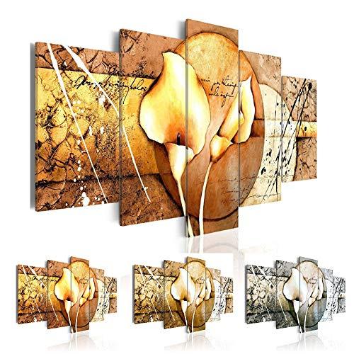 5 Panel kombinierte Blume Leinwand Wandkunst Bild Calla Lily Leinwand Malerei für Schlafzimmer Abstraktes Blumenplakat (kein Rahmen)(size)