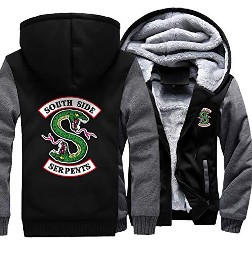 Riverdale Men's Black Jacket with Fleece Hood,Hoodie for Mens Women,Cosplay South Side Stitching Coat(M-5XL)