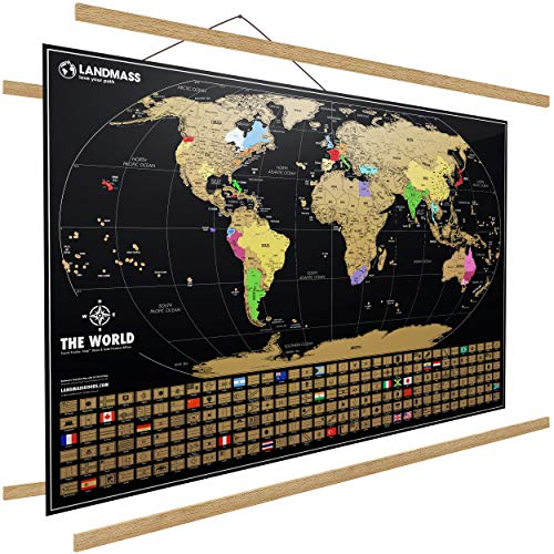 Landmass - Extra Large Scratch Off Map of The World with Frame - Travel World Map Poster Print + Wood Hanger - Countries - World Capitals - Wall Art -...