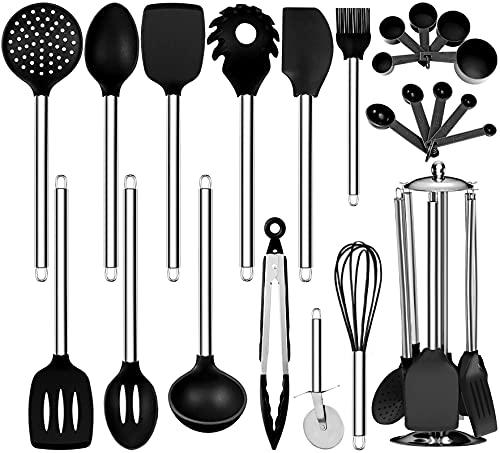 Oyydecor Silicone Kitchen Cooking Utensil Set ,23PCS Silicone Kitchen Utensil Set Non-Toxic And Non Stick Cookware with Utensils Holder, BPA-free Safety Kitchen Utensils Set (Black)