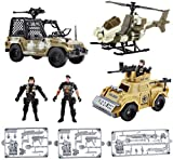 deAO Pack de 3 Véhicules et Figurines des Forces Militaires – Motocyclette, Bateau, Voiture, Tank et Hélicoptère Armée pour Enfants