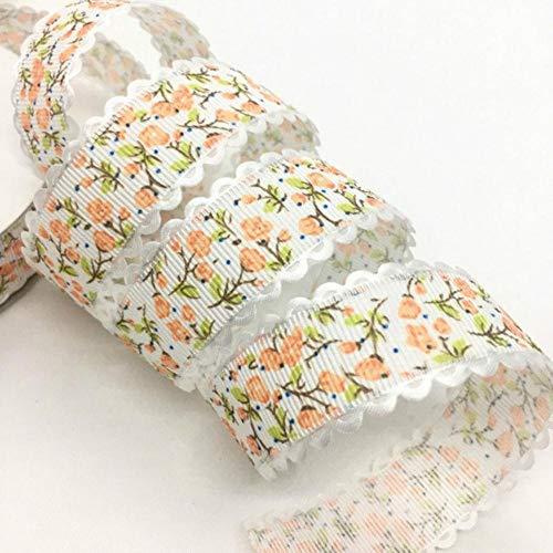 5Y 1.5 - 2.5cm Cinta en relieve con estampado de flores para manualidades hechas a mano Pascua Matrimonio Fiesta Scrapbook Deco Regalo Embalaje floral-China, UR97-4 (2.5cm), 5 yardas