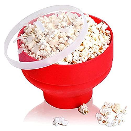 Hopfällbar mikrovågsugn popcorn maker skål påsar, varmluft popcorn popper skål behållare med lock, silikon popcorn maker säker röd högtemperaturmotstånd