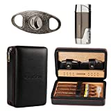 CIGARISM Cedar Lined Cigar Case Travel Humidor W/Cutter Lighter Set 4 Count...